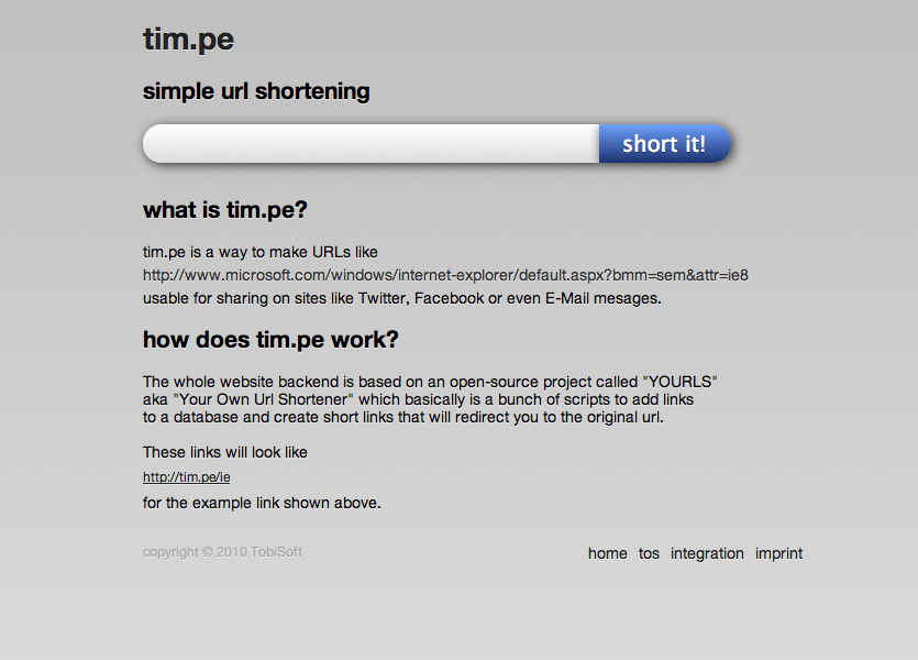 tim.pe url shortener